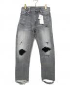SEVESKIG(セヴシグ)の古着「ダメージ加工デニムパンツ」|グレー