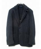 Belvest(ベルベスト)の古着「ストライプニットジャケット」|ネイビー