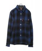 eYe COMME des GARCONS JUNYAWAT(コム デ ギャルソン ジュンヤワタナベマン)の古着「シャツジャケット」|ブラック×ブルー