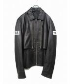 Hood By Air(フードバイエアー)の古着「2WAYレイヤードレザージャケット」|ブラック