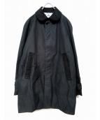 eYe COMME des GARCONS JUNYAWATANABE MAN(アイコムデギャルソンジュンヤワタナベマン)の古着「コットン/ナイロンギャバシングルコート」|ブラック