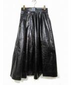 AKIRA NAKA(アキラ ナカ)の古着「エナメルフレアスカート」 ブラック