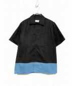 AMI Alexandre Mattiussi(アミ アレクサンドル マテュッシ)の古着「コットンツイルバイカラーシャツ」|ブラック×ブルー