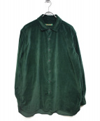 CASEY CASEY(ケーシーケーシー)の古着「ベルベットL/Sシャツ」 グリーン