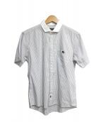 BURBERRY BLACK LABEL(バーバリーブラックレーベル)の古着「半袖シャツ」|ホワイト×ブラック
