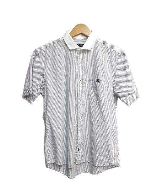 BURBERRY BLACK LABEL(バーバリーブラックレーベル)BURBERRY BLACK LABEL (バーバリーブラックレーベル) 半袖シャツ ホワイト×ブラック サイズ:2の古着・服飾アイテム