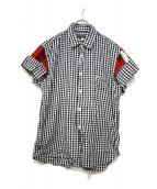 COMME des GARCONS HommePlus(コムデギャルソンオムプリュス)の古着「アームデザインチェックシャツ」|ホワイト×ブラック