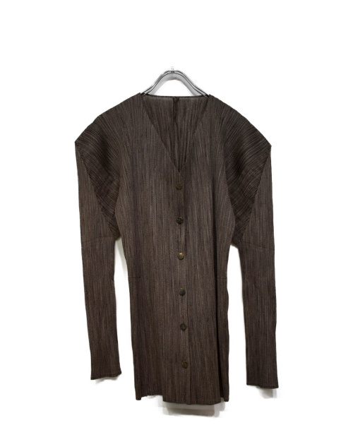 PLEATS PLEASE(プリーツプリーズ)PLEATS PLEASE (プリーツプリーズ) フロントボタンプリーツブラウス ブラウン サイズ:3の古着・服飾アイテム