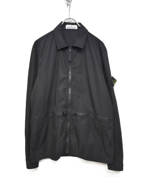 STONE ISLAND(ストーンアイランド)STONE ISLAND (ストーンアイランド) 製品染めオーバーシャツブルゾン ブラック サイズ:Mの古着・服飾アイテム