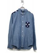 COMME des GARCONS HommePlus(コムデギャルソンオムプリュス)の古着「11'Sドット切替シャンブレーシャツ」|ライトインディゴ×ネイビー
