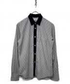 COMME des GARCONS SHIRT BOY(コムデギャルソンシャツ ボーイ)の古着「L/S切替ストライプシャツ」 ホワイト×ネイビー