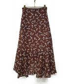 Noble(ノーブル)の古着「20S/Sリーフプリントアシメントリースカート」|ブラウン