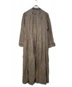 nest Robe(ネストローブ)の古着「19S/S Linen Y neck dress.」|ベージュ