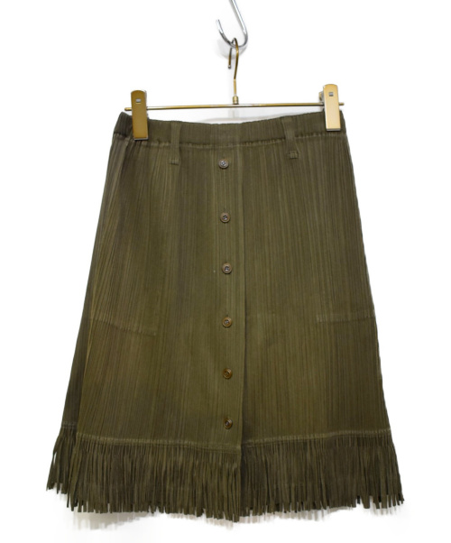 PLEATS PLEASE(プリーツプリーズ)PLEATS PLEASE (プリーツプリーズ) フロントボタンフリンジプリーツスカート カーキ サイズ:3の古着・服飾アイテム