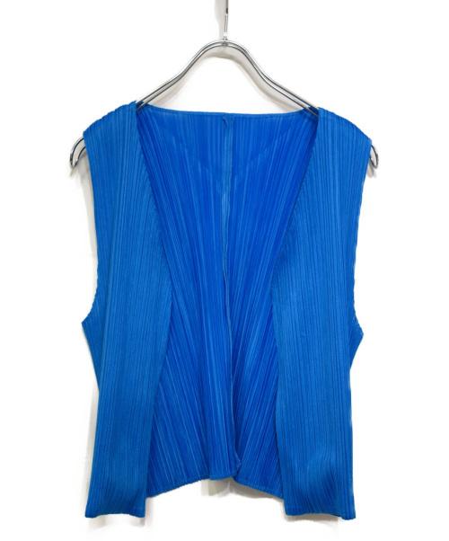 PLEATS PLEASE(プリーツプリーズ)PLEATS PLEASE (プリーツプリーズ) プリーツベスト ブルー サイズ:3の古着・服飾アイテム