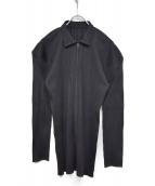 PLEATS PLEASE(プリーツプリーズ)の古着「プリーツジップアップシャツ」|ブラック
