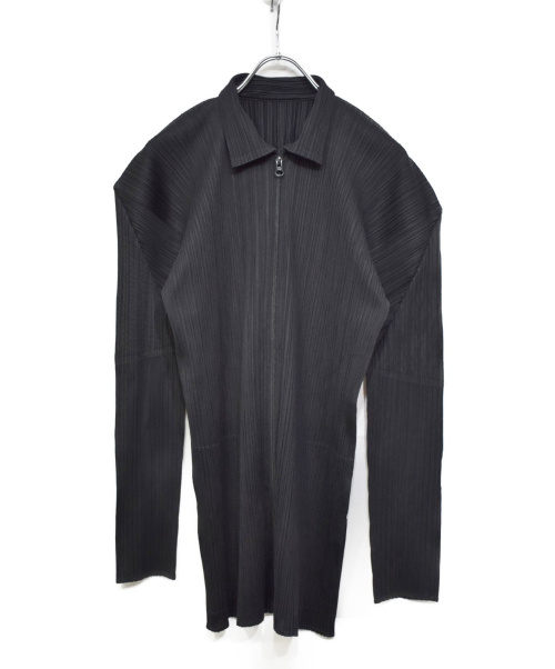 PLEATS PLEASE(プリーツプリーズ)PLEATS PLEASE (プリーツプリーズ) プリーツジップアップシャツ ブラック サイズ:4の古着・服飾アイテム