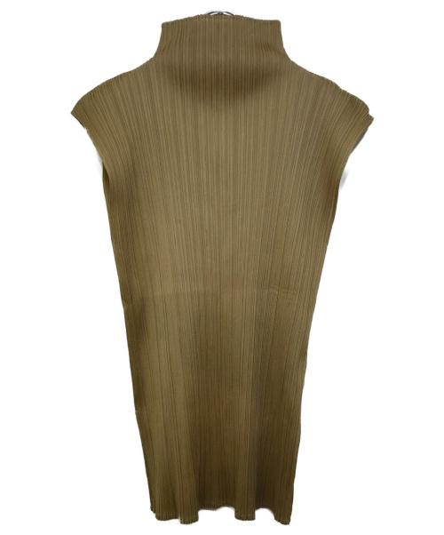 PLEATS PLEASE(プリーツプリーズ)PLEATS PLEASE (プリーツプリーズ) ハイネックプリーツノースリーブカットソー カーキ サイズ:Fの古着・服飾アイテム