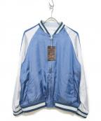 Varde77(バルデセブンティセブン)の古着「サテンジャケット」 スカイブルー
