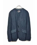 ISAMU KATAYAMA BACKLASH(イサムカタヤマバックラッシュ)の古着「製品染め千鳥格子ノーカラージャケット」|ブルー×ブラック