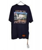 HERON PRESTON(ヘロン プレストン)の古着「Blue jersey print t-shirt」|ブラック