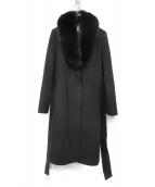 Pinky & Dianne(ピンキーアンドダイアン)の古着「フォックスファー装飾カシミヤ混メルトンロングコート」|ブラック