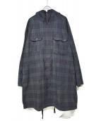 Engineered Garments(エンジニアードガーメン)の古着「フーデッドチェックコート」|ネイビー×グリーン
