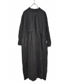 nest Robe(ネストローブ)の古着「19AW Linen tucked neck dress」|ブラック