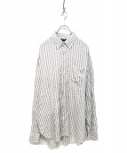 UNUSED(アンユーズド)の古着「Silk stripe long shirts」|ホワイト×グレー