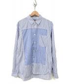 ()の古着「切替ストライプチェックシャツ」|ネイビー