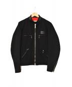 Lewis Leathers(ルイスレザーズ)の古着「コットン×レザーシングルライダースジャケット」|ブラック