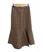 VERMEIL par iena(ヴェルメイユ パー イエナ)の古着「W/E高密度チェック イレギュラーヘムスカート」|ブラウン