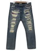 Ron Herman(ロンハーマン)の古着「ダメージリペア加工デニムパンツ」|インディゴ