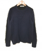 sacai luck(サカイ ラック)の古着「ウールケーブル編み×アンゴラナイロン ドッキングニッ」 ネイビー