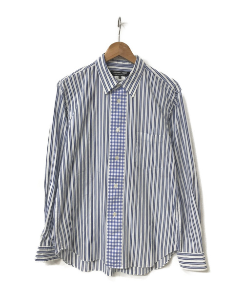 COMME des GARCONS HOMME DEUX(コムデギャルソン オム ドゥ)COMME des GARCONS HOMME DEUX (コムデギャルソン オムドゥ) 切替ストライプチェックシャツ ブルー サイズ:M AD2019の古着・服飾アイテム