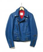 Lewis Leathers(ルイスレザース)の古着「レザーライダースジャケット」 ブルー