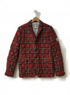 MONCLER GAMME BLEU(モンクレール ガム ブルー)の古着「チェックエルボーパッチ中綿ジャケット」|レッド
