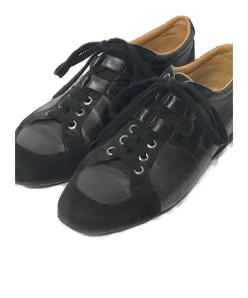 HERMES(エルメス)HERMES (エルメス) レザー×スエード Hロゴスニーカー ブラック サイズ:38の古着・服飾アイテム