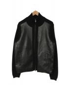 ()の古着「レザー切替ニットジャケット」|ブラック