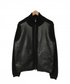EMPORIO ARMANI(エンポリオアルマーニ)の古着「レザー切替ニットジャケット」|ブラック
