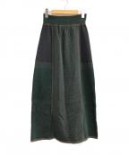 PUBLIC TOKYO(パブリックトウキョウ)の古着「パイピングJQニットスカート」|グリーン