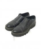foot the coacher(フットザコーチャー)の古着「サイドレースメダリオンシューズ」 ブラック