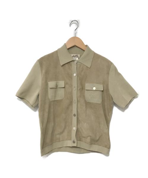 HERMES(エルメス)HERMES (エルメス) レザーハーフスリーブシャツジャケット ベージュ サイズ:L セリエボタンの古着・服飾アイテム