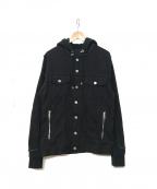 BALMAIN(バルマン)の古着「スウェット切替デニムジャケット」 ブラック