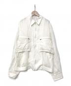 TOGA VIRILIS()の古着「21S/S CUPRA JACQUARD MIX BLOUS」 ホワイト