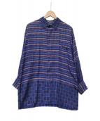 ()の古着「総柄比翼シルクシャツ」|ブルー