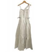 CASA FLINE(カーサフライン)の古着「フロントホックプリーツワンピース」|ベージュ