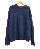 ()の古着「Raised Logo Sweater」|ネイビー