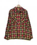 TOWN CRAFT(タウンクラフト)の古着「オープンカラーチェックシャツ」 レッド