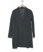 ()の古着「プリーツデザイン3Bロングジャケット」|ブラック